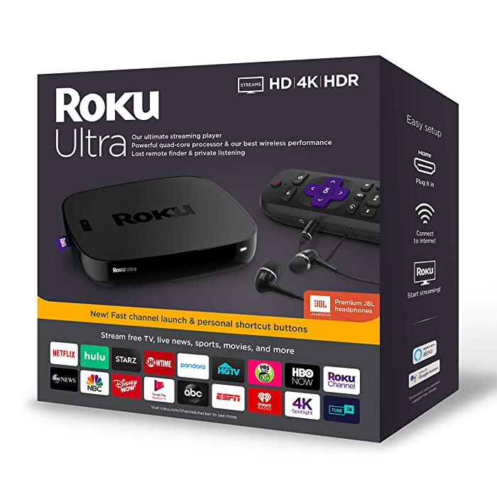Roku Ultra | Streaming Media Player 4K/HD/HDR 2019 with Premium JBL Headphones