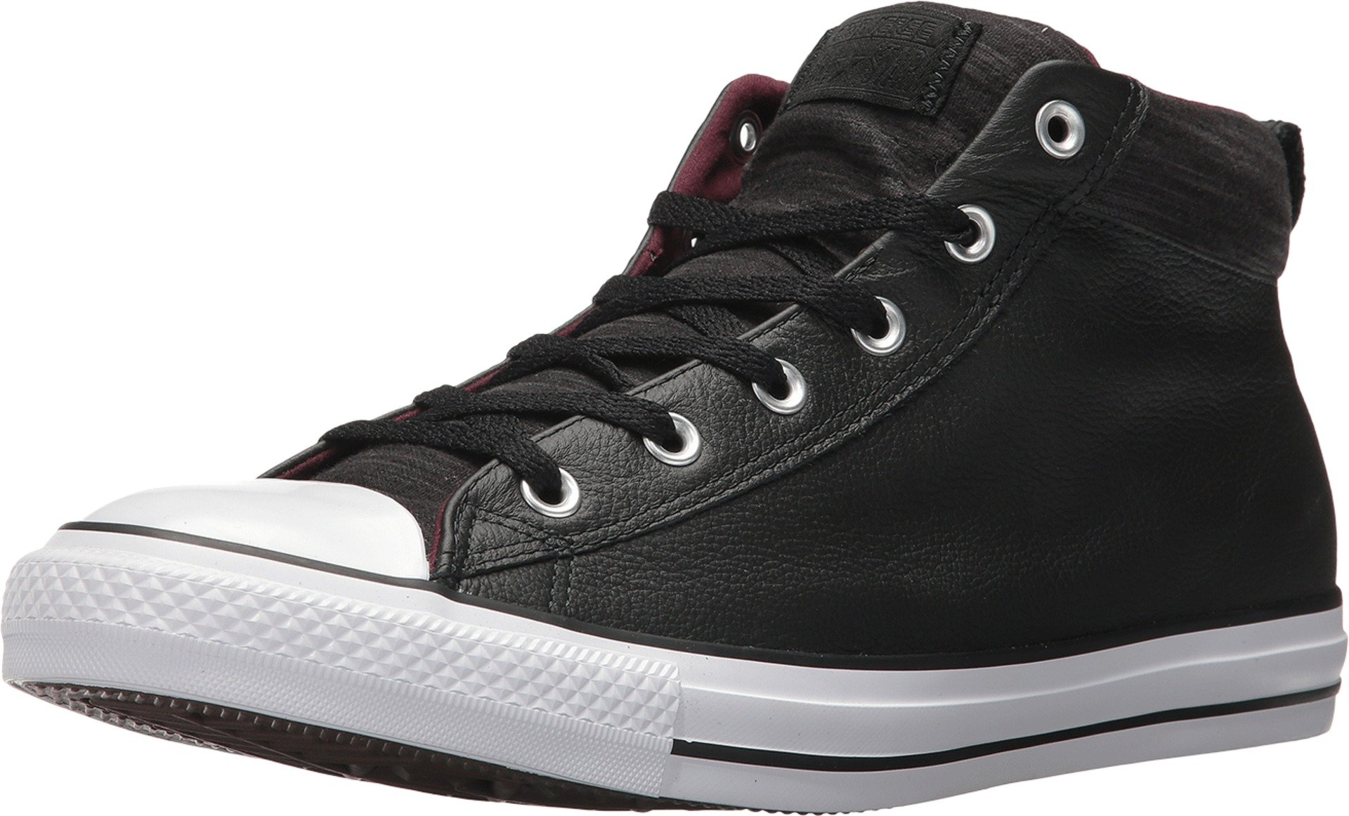 a73f3433144 Galleon - Converse All Star HIGH Street MID Leather Black White Fleece Size  11