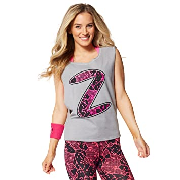 Zumba Womens Inspired by Z Dropped Armhole Tank, Thundering Gray, X-Large