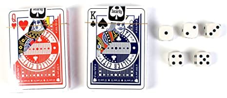 Silver City 2 Deck Set of Playing Cards with 5 Dice, 3 Pack Card Games