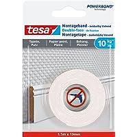 Tesa 77742-00000-00 Mounting Tape for Wallpaper & Plaster 10kg/m, 1,5m x 19mm, wit