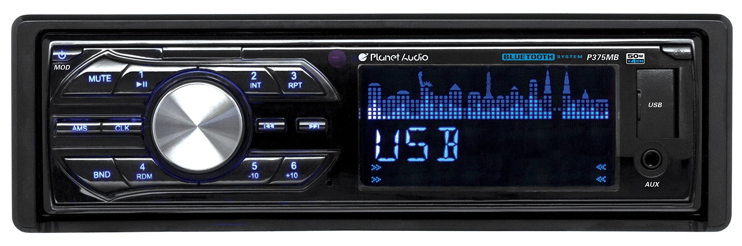 Planet Audio P375MB Single-Din MECH-LESS Multimedia Player (no CD or DVD), Receiver, Bluetooth, Detachable Front Panel, Wireless Remote