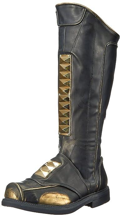 Funtasma Men's Captain-115 Knee High Boot, Black Rub-Off Polyurethane Gold  Tone