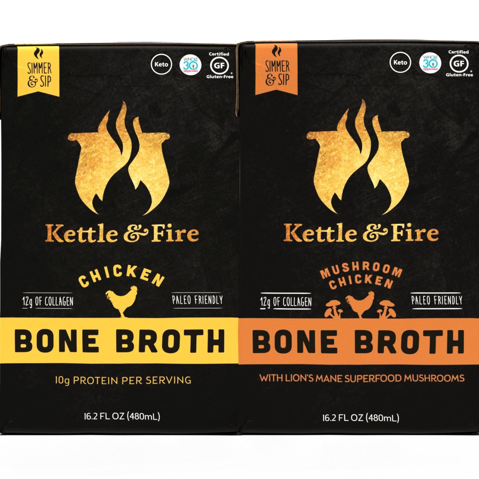 Mushroom & Chicken Bone Broths- 2 Pack (1 Mushroom Chicken / 1 Chicken) of Collagen & Gelatin Rich Bonebroth Stock for Ketogenic/Paleo/Gluten Free/Whole 30 Diet Friendly Nutrition from Ancient Source