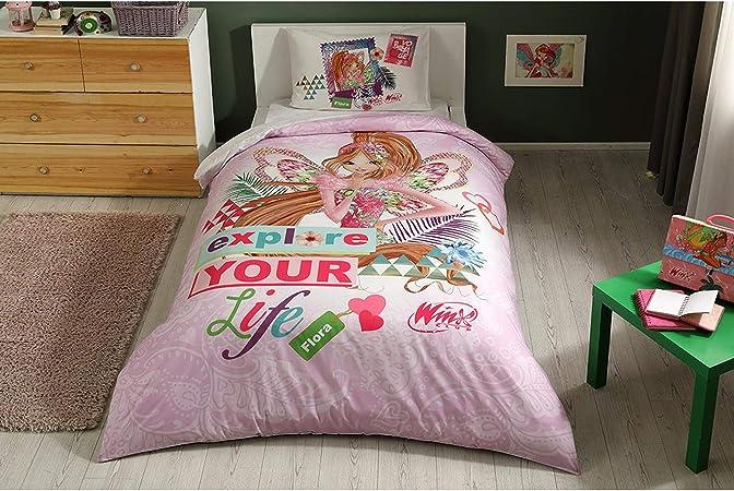 Copripiumino Winx.Winx Flora Fairytale 100 Cotone Prodotto Con Licenza Set Da Letto