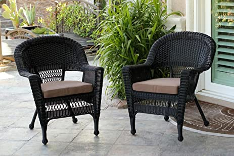 Wonderful Set Of 4 Black Resin Wicker Outdoor Patio Garden Chairs With Brown Cushions    36u0026quot;