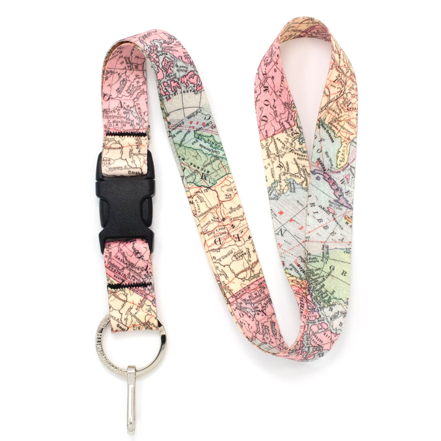 Buttonsmith Vintage Map Premium Lanyard with Buckle and Flat Ring - Made in The USA