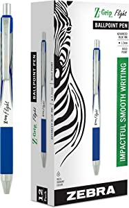 Zebra Pen Z-Grip Flight Retractable Ballpoint Pen, Bold Point, 1.2mm, Blue Ink, 12-Count