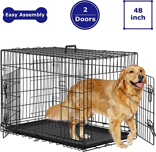 BMS Dog Crate 48 inch 42 inch Dog Kennel for Large Medium Dog Crate Folding Metal Dog Crate Indoor Outdoor Double Door Travel Metal Dog Crate with Plastic Tray