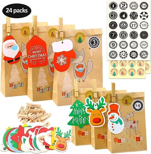 Bolsas de Regalo Navidad Cajas de Regalo Bolsa de Regalo para Fiesta//Navidad//Cumplea/ños Herefun 24 Calendario de Adviento Navidad Bolsas de Regalo con 1-24 n/úmeros pegatinas