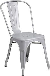 Flash Furniture Silver Metal Indoor-Outdoor Stackable Chair