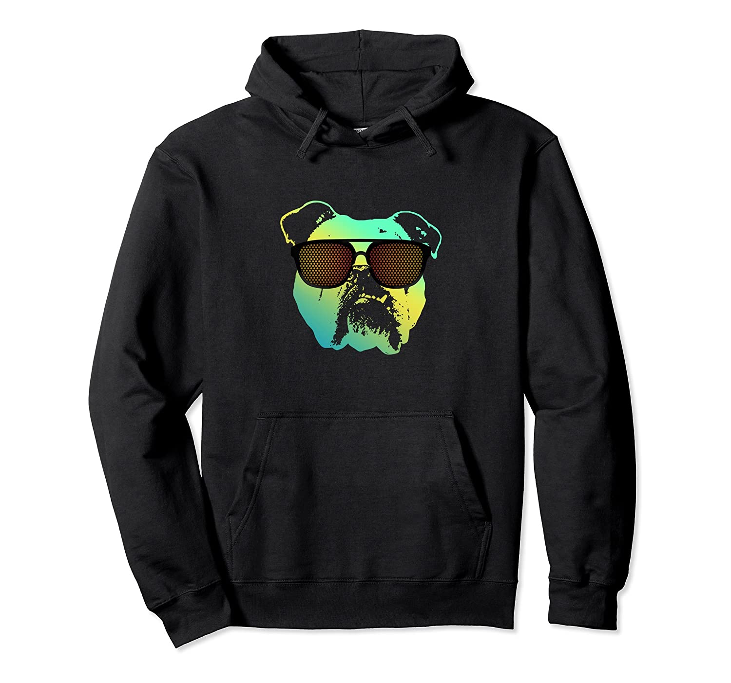 Bulldog Sunglasses Funny Graphic Hoodie Dog Dad Gift Men-AZP