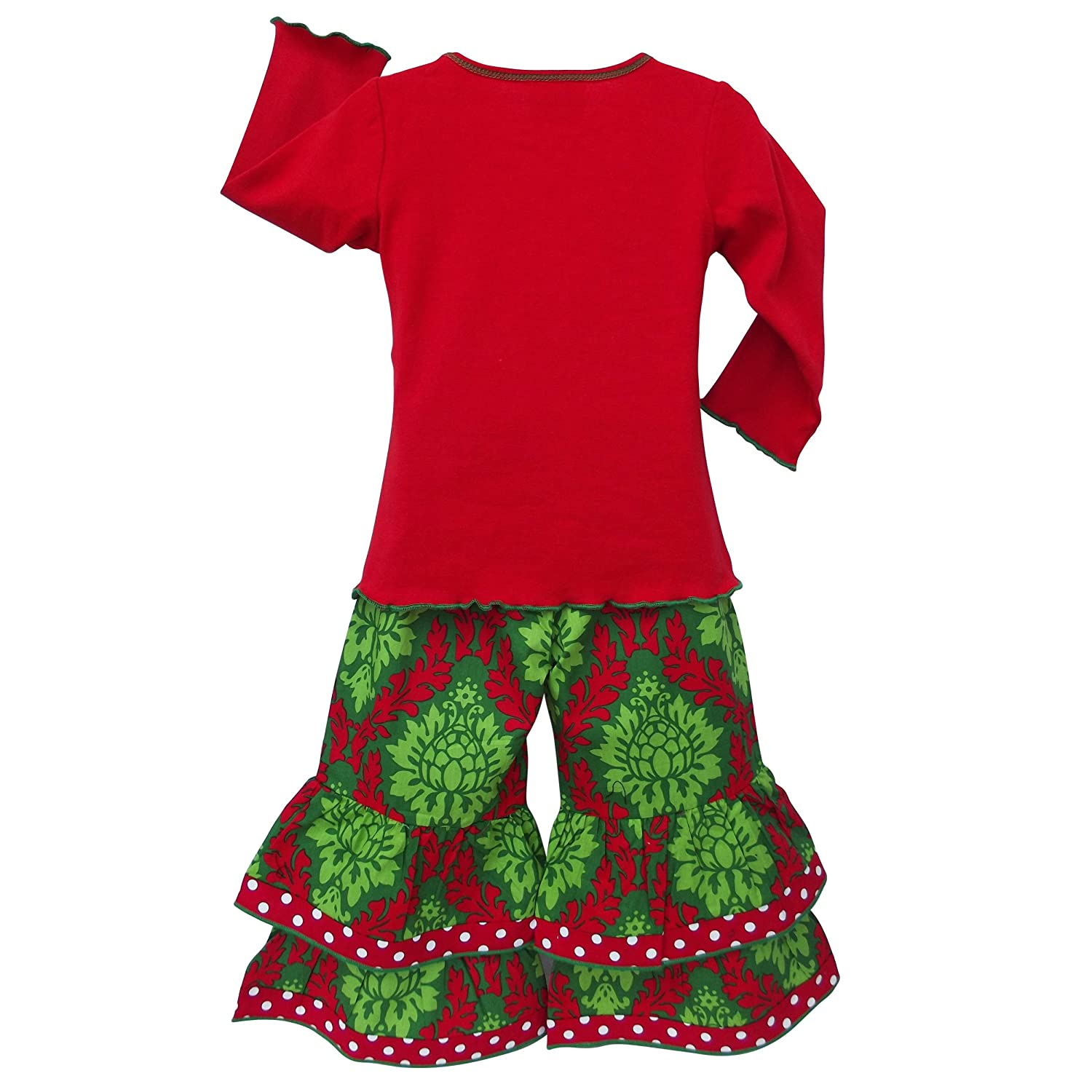 189f648c29ff Amazon.com: AnnLoren Little Girls 4/5T Boutique Christmas Reindeer Holiday  Pants Set: Clothing
