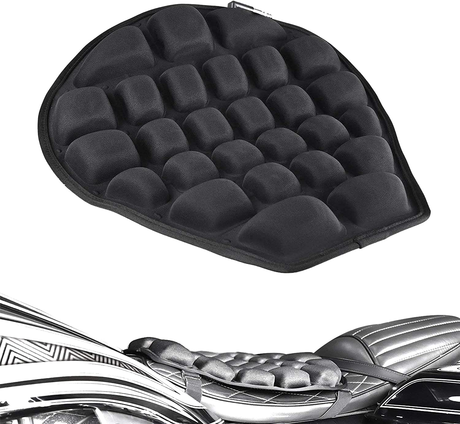 DULALA Seat Cushion Motorcycle Air Pressure Relief Ride Seat Cushion TPU Water-Fillable Seat Pad for Cruiser Touring Saddles