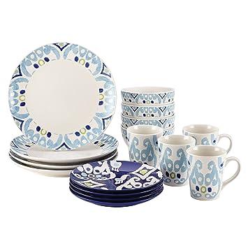 Amazon.com | Rachael Ray Dinnerware Ikat Collection 16-Piece Set Blue Dinnerware Sets  sc 1 st  Amazon.com & Amazon.com | Rachael Ray Dinnerware Ikat Collection 16-Piece Set ...