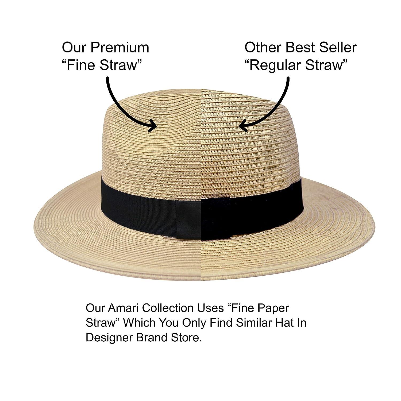 5c3cf418fa375 Pineapple Star Sun Straw Fedora Beach Hat Fine Braid UPF50+ for Both Women  Men at Amazon Women s Clothing store