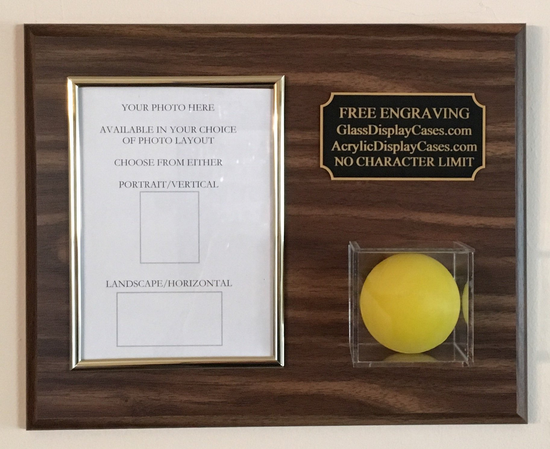 Lacrosse Ball and 5X7 Photo Vertical or Horizontal Choice Wall Display Case Plaque - Wood Color Choice - Engraved