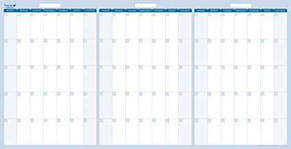 90 Day Calendar.Amazon Com Sky Blue 90 Day 3 Monthly Quarterly Dry Wet Erasable