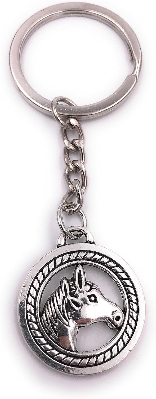 H-Customs Cabeza de Caballo en círculo Llavero de Plata Metal