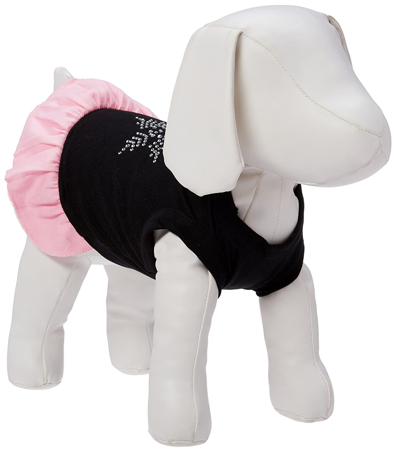 Mirage Pet Products Snowflake Rhinestone 10-Inch Pet Dress, Small, Black with Pink