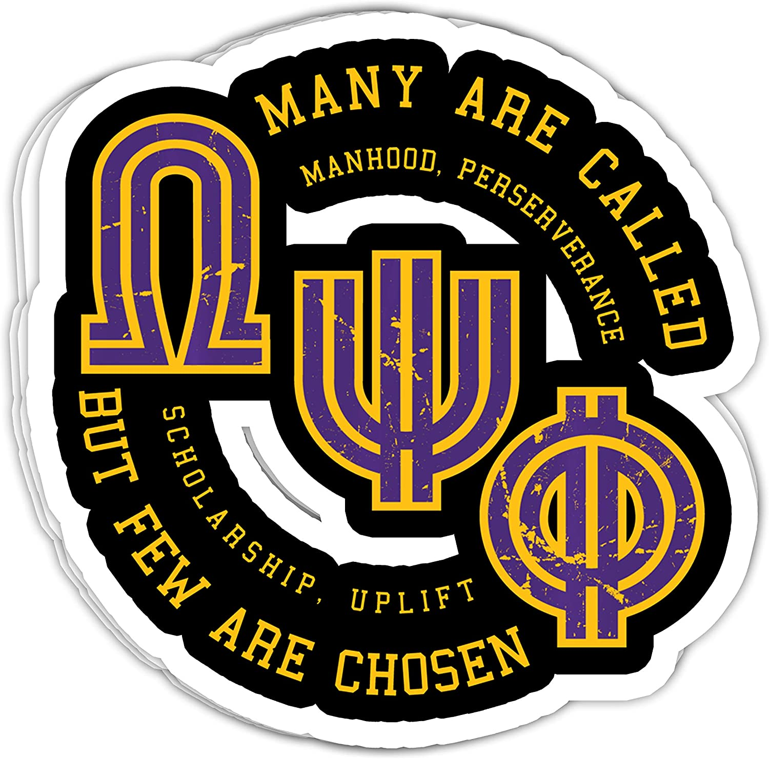 macknessfr Omega Psi Phi Fraternity, Inc. - 4x3 Vinyl Stickers, Laptop Decal, Water Bottle Sticker (Set of 3)