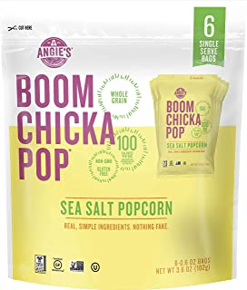 product image for Angie's BOOMCHICKAPOP Gluten Free Sea Salt Popcorn, 0.6 Ounce Vegan Snack Pack Bag, 6 Count (Pack of 4)