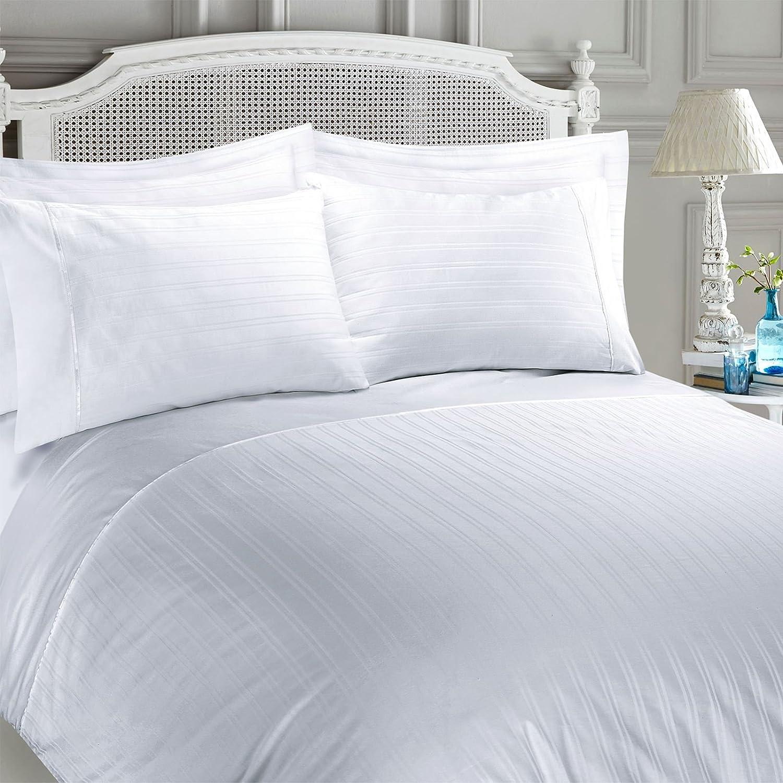 Juego de cama con funda nórdica de algodón egipcio satinado, diseño de rayas, algodón egípcio, Blanco, matrimonio: Amazon.es: Hogar