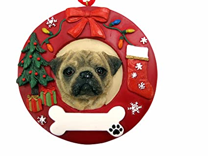 es pets pug personalized christmas ornament