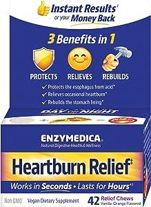 Enzymedica, Heartburn Relief, Dietary Supplement to Help Soothe Indigestion, Vegan, Non-GMO, Vanilla Orange, 42 Chews (21 Servings)