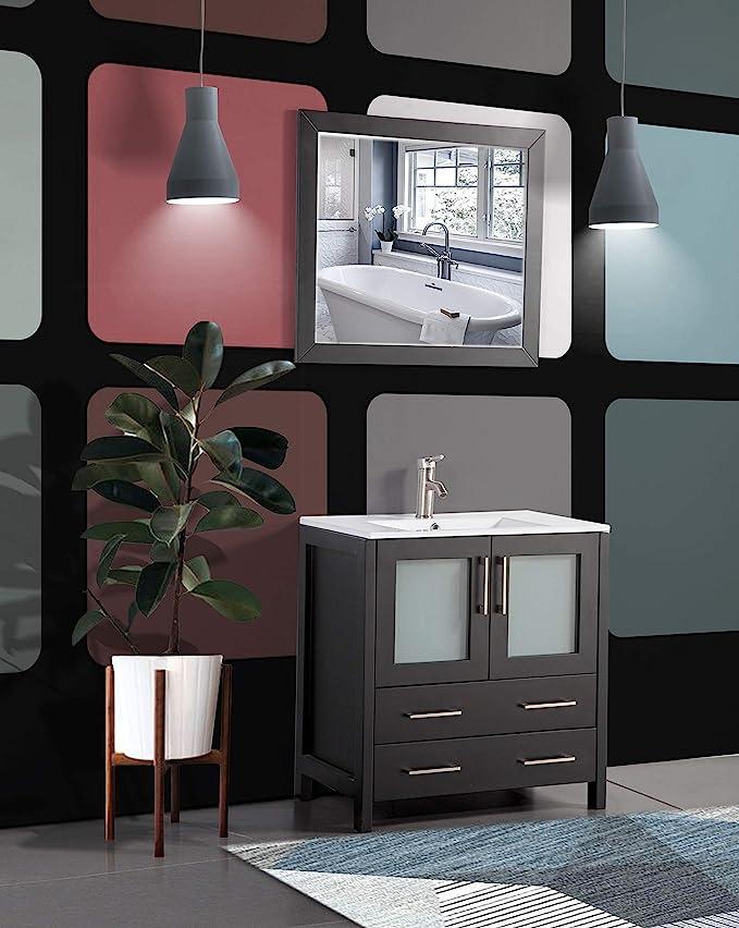 Vanity Art 30 Inch Single Sink Modern Bathroom Vanity Compact Set 1 Shelf 2 Drawers Ceramic Top Bathroom Cabinet With Free Mirror Va3030 E Kitchen Dining