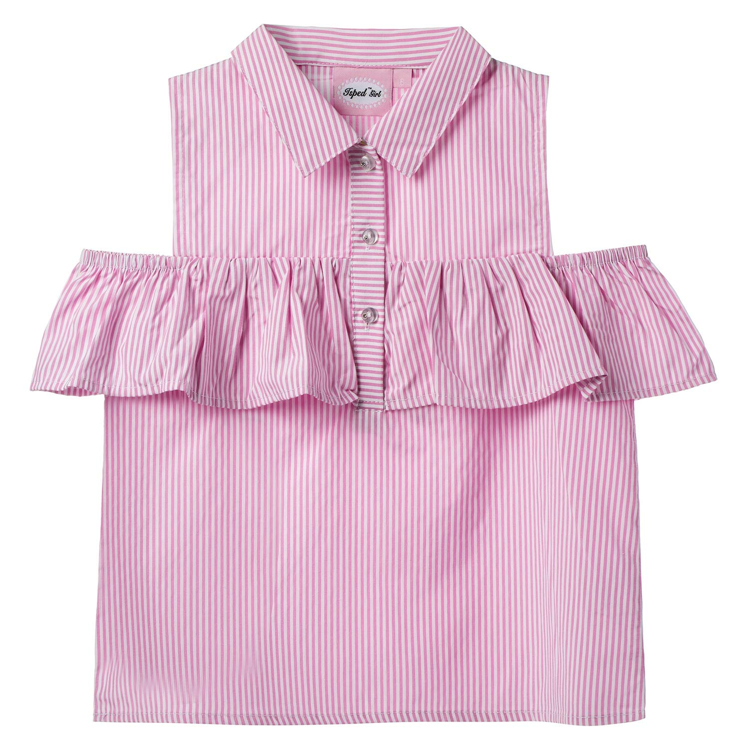Isped Shirts for Girls Striped with Flounces Summer Girls Blouses, White+pink, 8Y