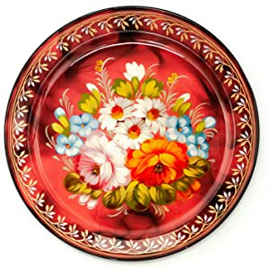 d 230 mm Zhostovo Patterns Hand Painted and Lacquered Metal Forged Red Tray