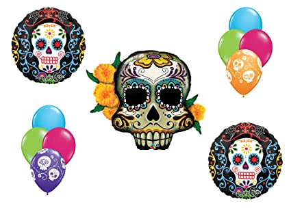 fc7ee5fa13fb5 Amazon.com  Sugar Skull Mylar Latex Balloon Bouquet Deluxe  Toys   Games