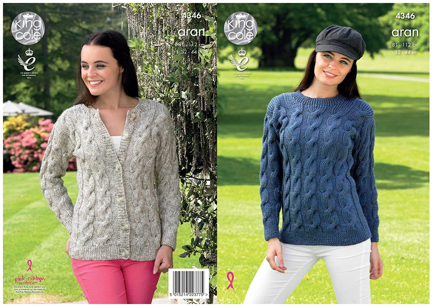 be684c60d Amazon.com  King Cole Ladies Knitting Pattern Womens Cable Detail Sweater    Cardigan Fashion Aran (4346)  Home   Kitchen