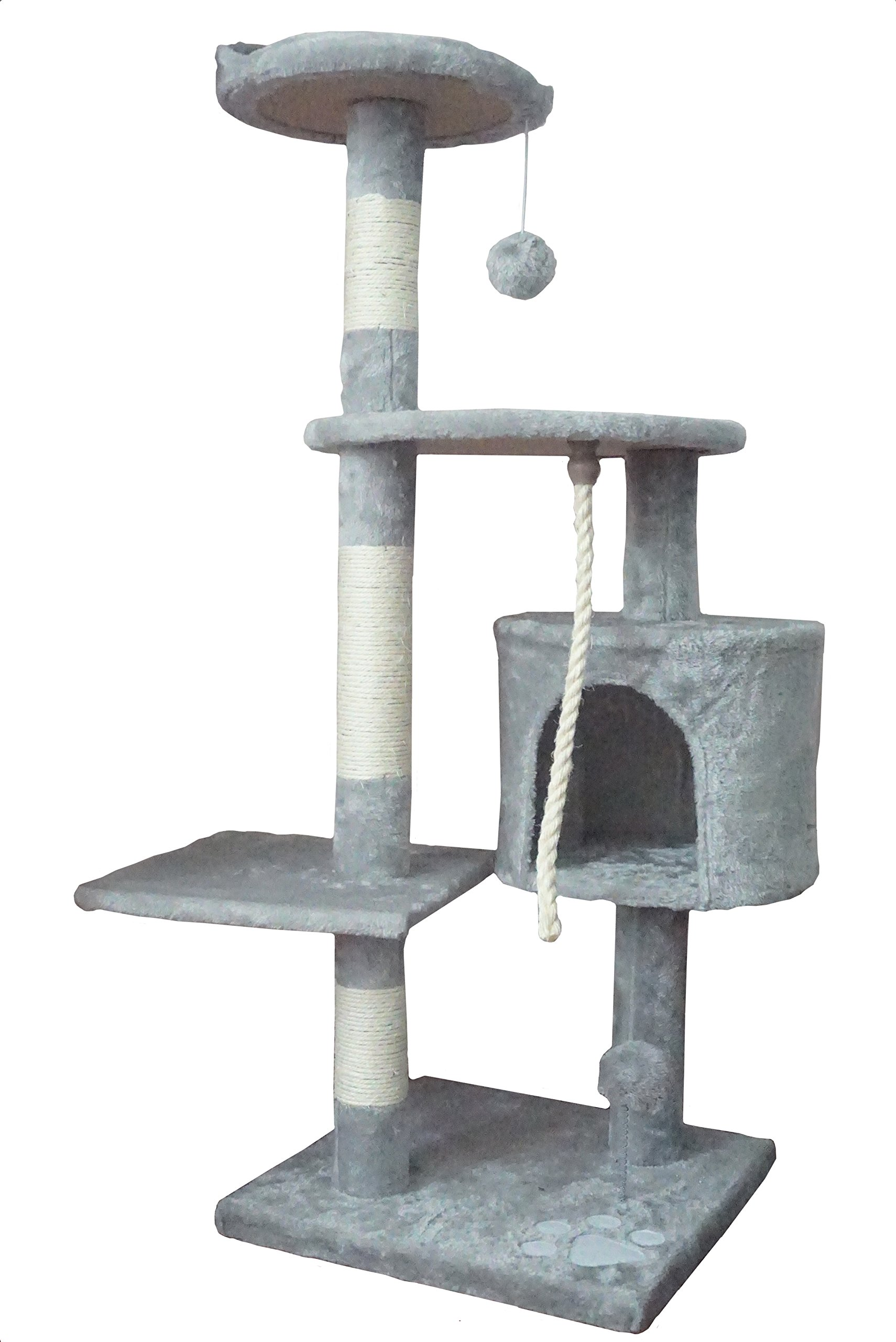 Ouzen Gray Cat Climbing Tree Tower Scratcher Furniture with Scratching Post and Toys for Cat