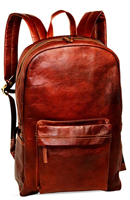 "acf6eb2016b 18"" Brown Leather Backpack Vintage Rucksack Laptop Bag Water Resistant  Casual Daypack College Bookbag Comfortable"