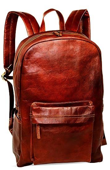 Mochila de Piel marrón de 18 Pulgadas, Estilo Vintage, para portátil, Resistente al
