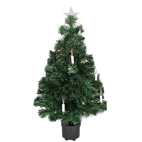 3 Pre Lit Christmas Tree.Dak 3 Pre Lit Fiber Optic Artificial Christmas Tree With Candles Multi Lights