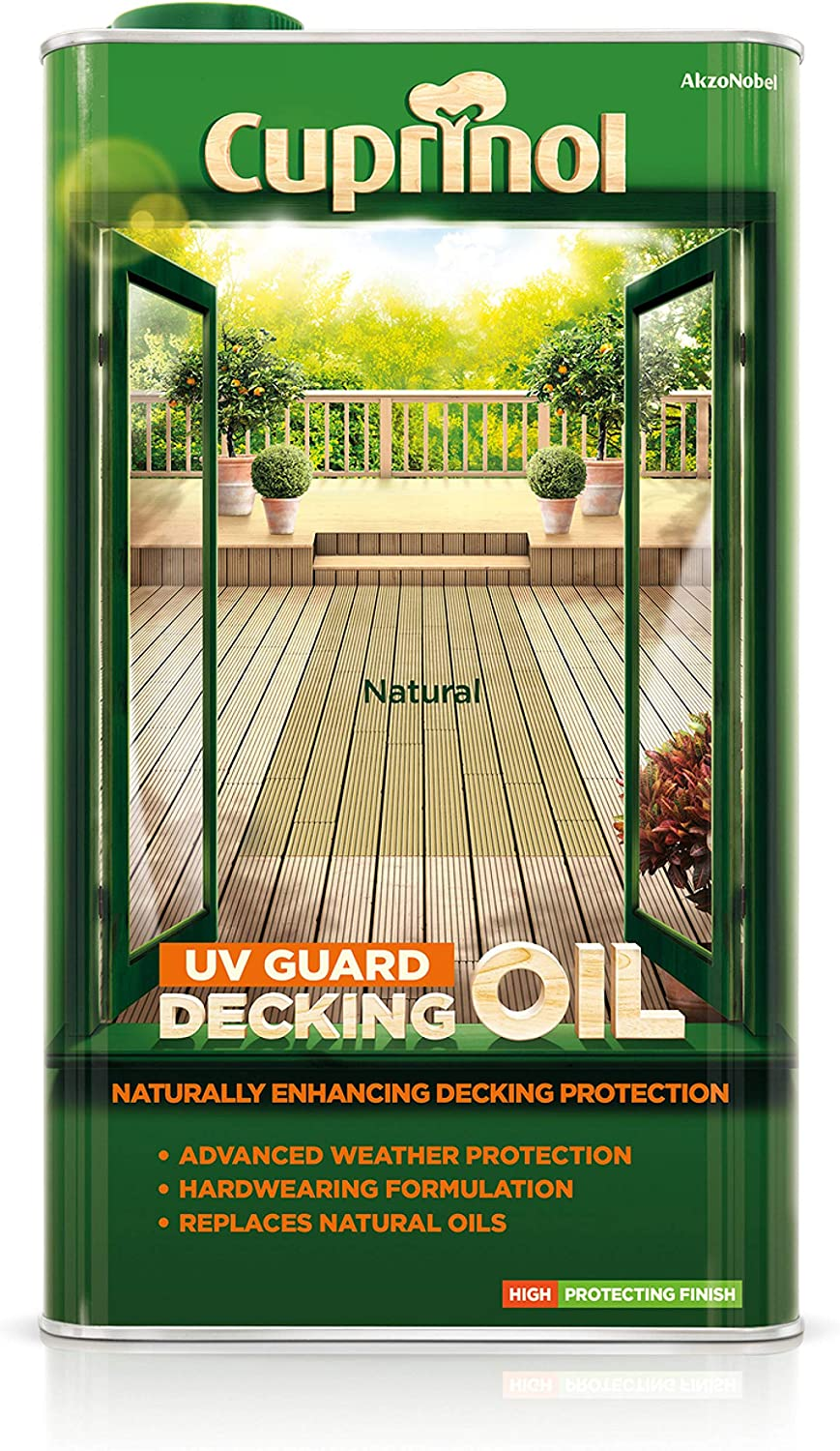 Cuprinol UV Guard Decking Oil 5 L 5 L, Natural, Al agua, 6 h, Dependent on the nature of the surface and the weather conditions, 8 m/²//L Aceites de acabado para madera