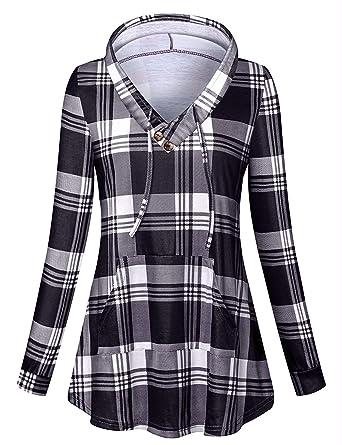 Cucuchy Women s Long Sleeve V Neck Plaid Tunic Hoodie Sweatshirts ... 71d9a75f6d