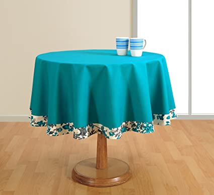 Charmant Round Table Cover Duck Cotton   60 Inch Diameter  Aqua Tablecloths For 4  Seater Tables