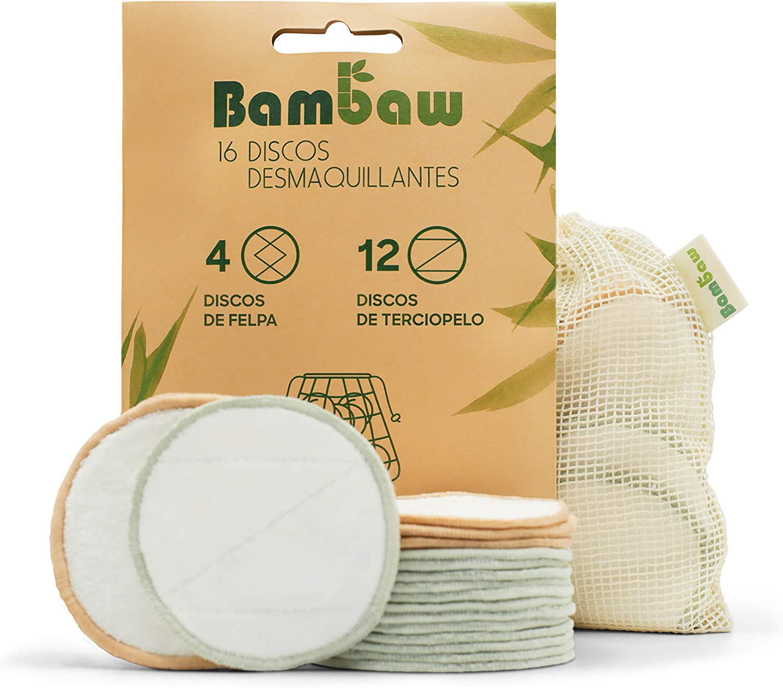 Discos Desmaquillantes | 16 Discos Desmaquillantes Reutilizables | Con Bolsa de Lavado | Hechos en Fibra de Bambú | Desmaquillante Facial | Lavables | Aptos Para Todo Tipo de Pieles | Bambaw: Amazon.es: Belleza