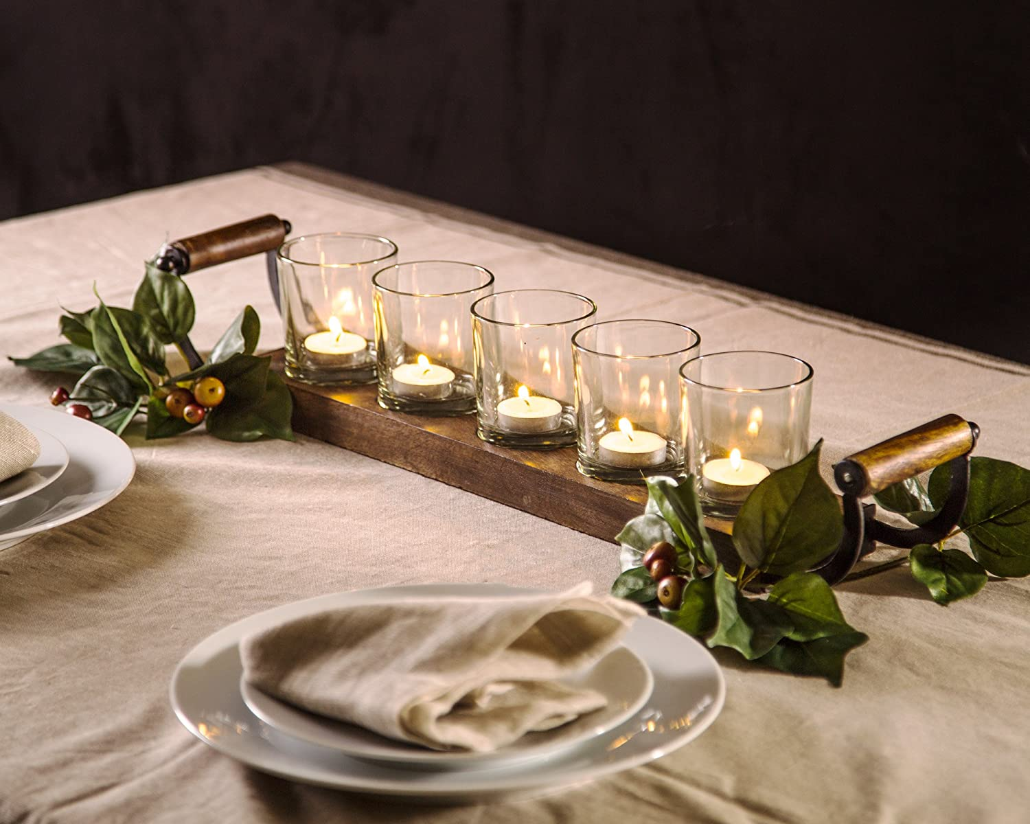 Decorative Votive Candle Holder Centerpiece, 5 Glass Votive Cups On Wood Base/Tray for Wedding Decoration Dining Table with Handles