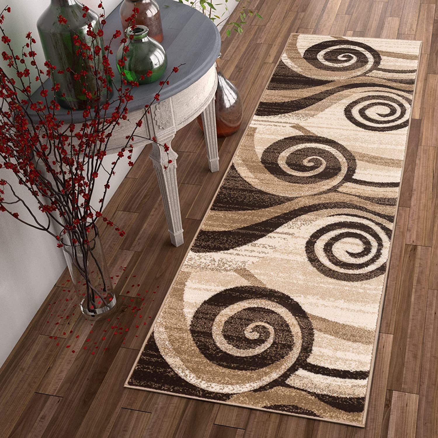Desert Swirl Brown Beige Modern 2x7 2 X 7 Runner Geometric Comfy Casual Spiral Hand Carved Area Rug Easy To Clean Stain Fade Resistant Contemporary Thick Soft Plush