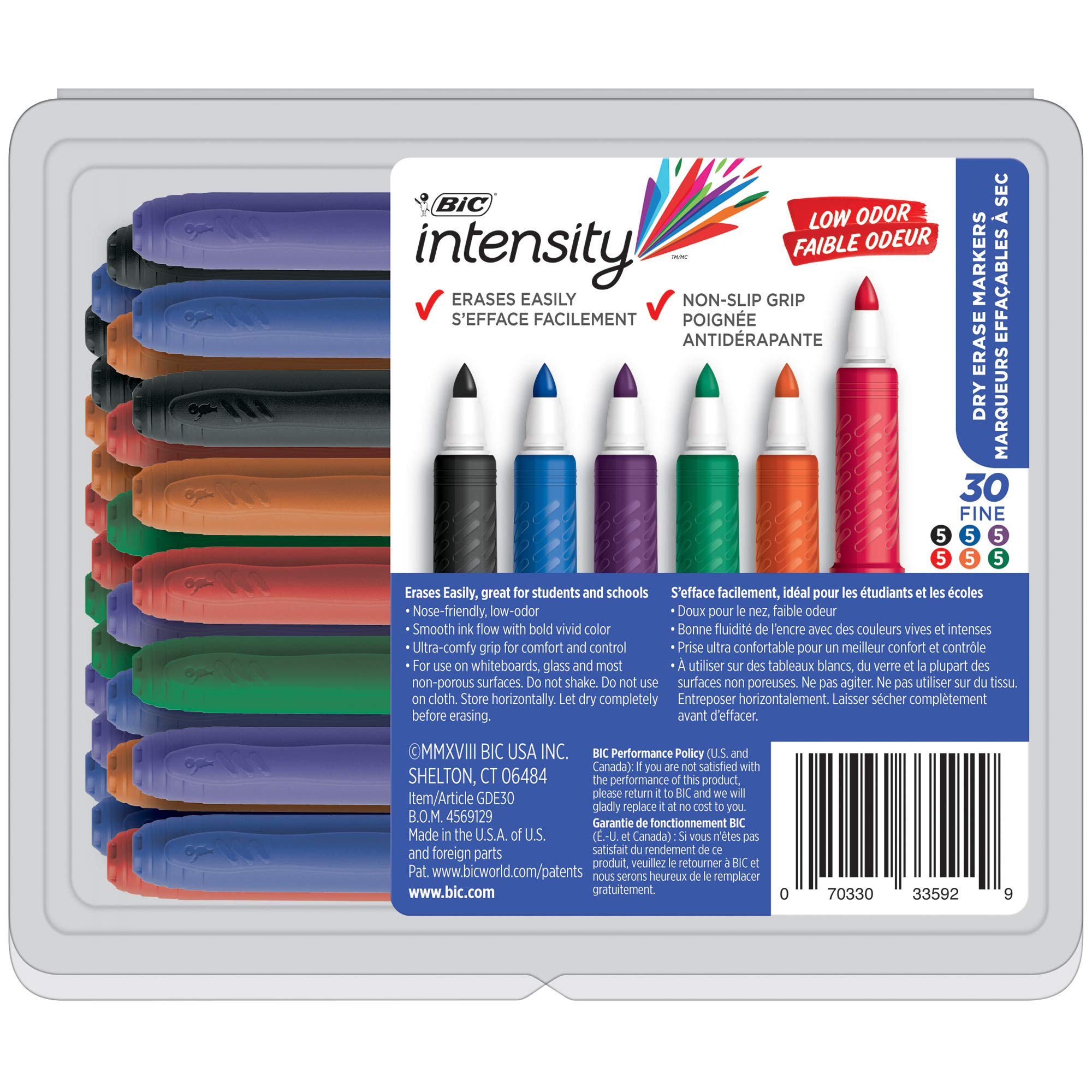 BIC GDE30 Great Erase Grip Low Odor Dry Erase Marker, Fine Point, Assorted Colors - 30 Dry Erase Markers by BIC (Image #1)
