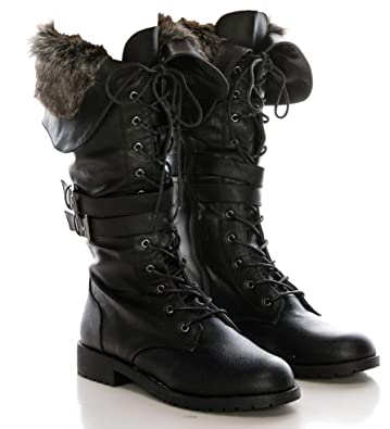 ee773645afc33 CALICO KIKI Military Knee High Combat Boots – Faux Fur with Lace up -  Buckled Side Zip Up Winter Boots