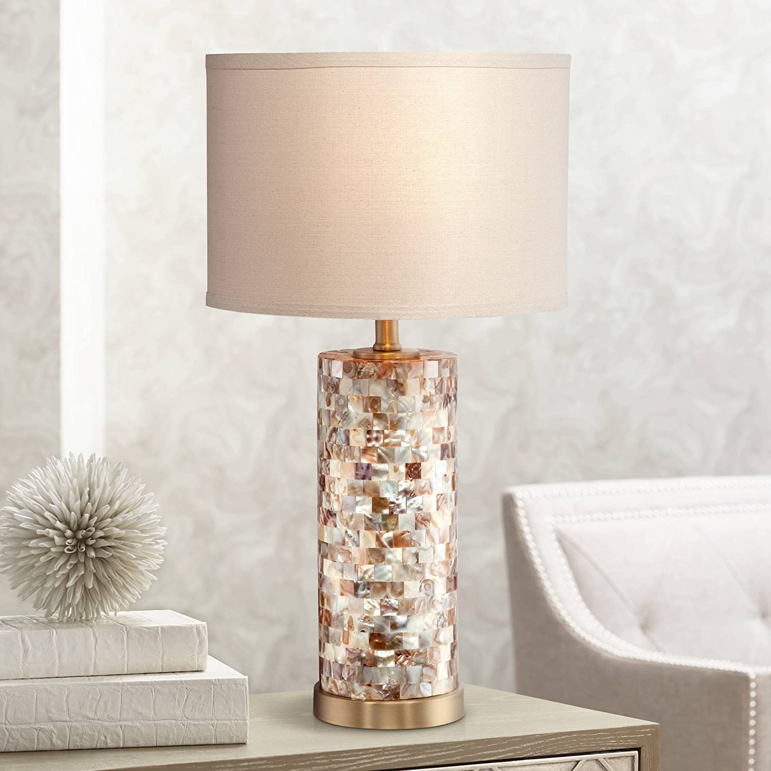 Margaret Coastal Accent Table Lamp Mother of Pearl Tile Cylinder Cream Linen Drum Shade for Living Room Family Bedroom Bedside - 360 Lighting