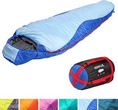 KeenFlex Saco de Dormir Tipo Momia para 3-4 Estaciones Extra c/álido y Ligero Resistente al Agua y con Control de Calor avanzado Ideal para Festivales o Hacer Camping Compacto