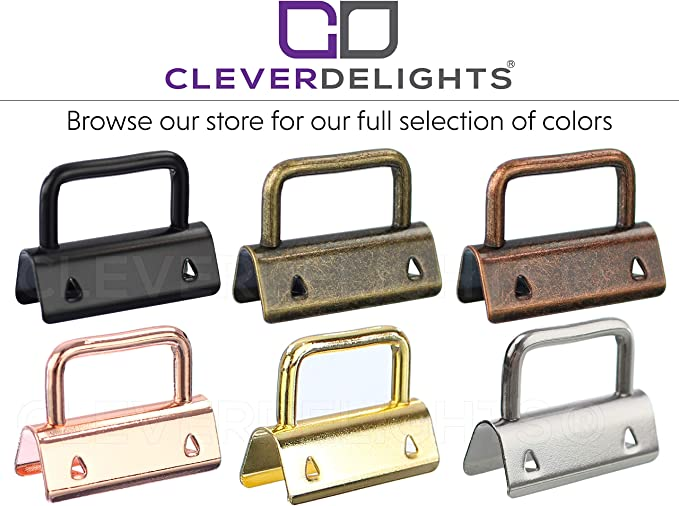 CleverDelights 1.25 Key Fob Hardware Set with Key Rings Gold Color 25 Pack 1 1//4 Inch for Lanyards Key Chain Wristlets