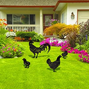 Aulock 4 Pcs Metal Chicken Yard Stakes- 4 Styles Garden Metal Chicken Family Signs Stakes for Ground Lawn Outdoor Decor